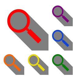 zoom sign set of red orange yellow vector image