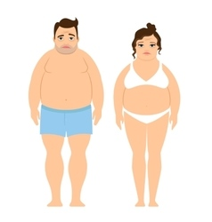 Overweight man and woman vector