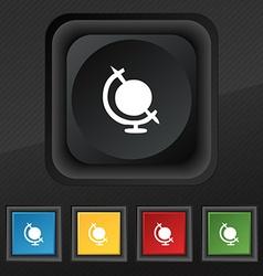 icon world symbol Set of five colorful stylish vector image