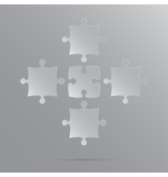5 grey puzzles pieces jigsaw vector
