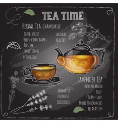 Herbal tea time card with cup teapot flowers vector