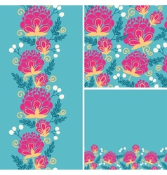 Set of colorful flowers seamless pattern and vector