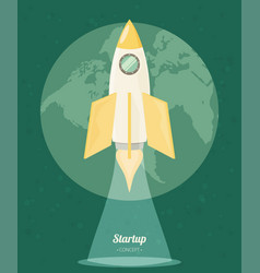Space rocket flat design colored vector