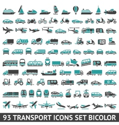 93 transport icons set bicolor vector