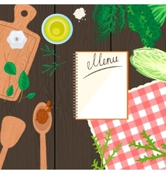 Cooking in kitchen top view banner vector