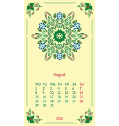Template calendar 2016 for month august vector
