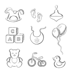 Baby and toys sketched icons set vector