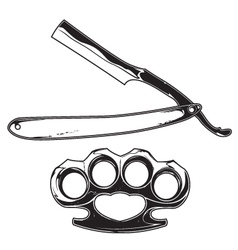 Brass knuckles and razor vector