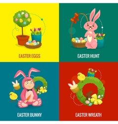 Easter compositions concept web banner square vector