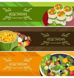 Vegetarian food horizontal banners set vector