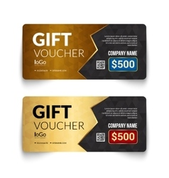 Gift voucher template with golden pattern design vector