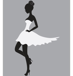 Beautiful girl in white dress vector