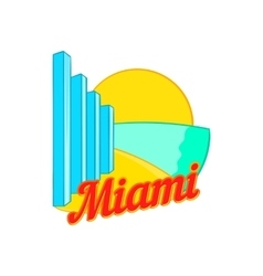 Sign miami icon cartoon style vector