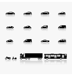 Automobiles and motorcycles vector image