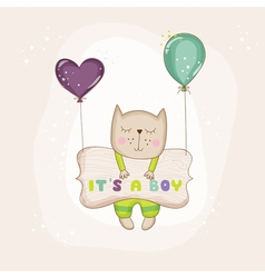 Baby Cat with Balloons - Baby Shower Card vector image