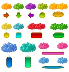 Balloons bunches with banners set vector image vector image
