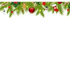 Christmas border with xmas garland vector