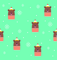 cute bear with hat scarf winter snowflakes blue vector image
