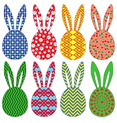 Eight ornamental easter rabbit heads vector