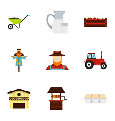 farming icons set flat style vector image vector image