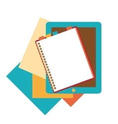 Flat design of notepad paper sheets and tablet vector image vector image