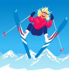 Girl ski jumping vector