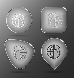 Globe and array up glass buttons vector