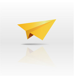Gold paper plane on white background vector