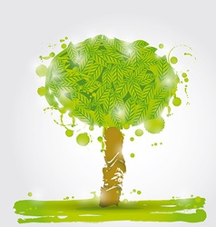 Green tree watercolor stains on a white background vector image vector image