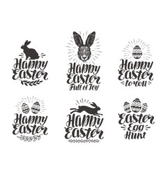 happy easter label set egg rabbit bunny symbol vector image vector image