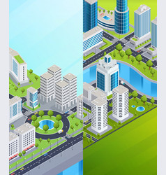 Isometric city banners vector