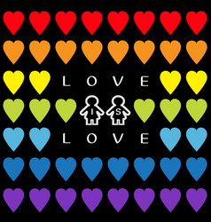 love is love text rainbow heart set gay marriage vector image vector image
