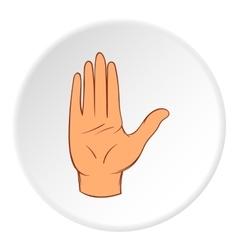 Open palm icon cartoon style vector