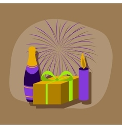 Paper sticker on stylish background fireworks vector
