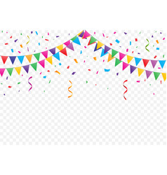 party flags with confetti vector image vector image