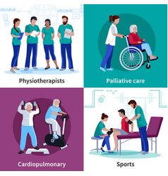 Physiotherapy rehabilitation 4 flat icons square vector