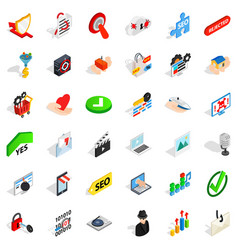 Safety cyber icons set isometric style vector