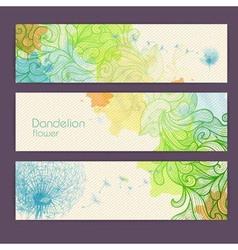 Set of ornamental artistic watercolor banners vector