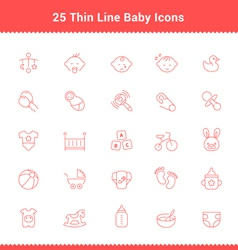 Set of Thin Line Stroke Baby Icon vector image vector image