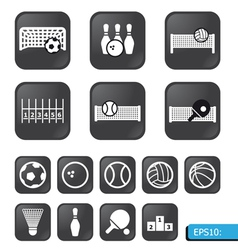sports icons on black buttons vector image