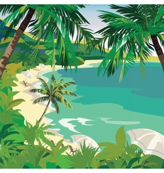 Summer beach with lounge chairs vector