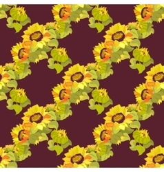 Sunflower garland seamless pattern on dark vector image vector image