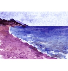 watercolor coast of sea vector image