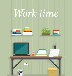 work time office interior for work place design vector image vector image