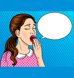 yawning girl pop art style vector image