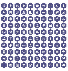 100 farm icons hexagon purple vector
