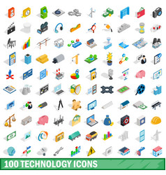 100 technology icons set isometric 3d style vector