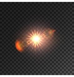 Light lens flare shining sun with bokeh effect vector