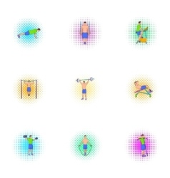 Active sports icons set pop-art style vector