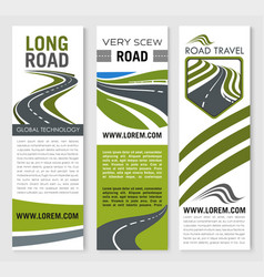 Banners for road travel technology company vector